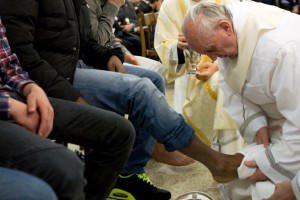 Pope Francis Attends Mass Of The Lord's Supper At The Casal Del Marmo Youth Detention Centre